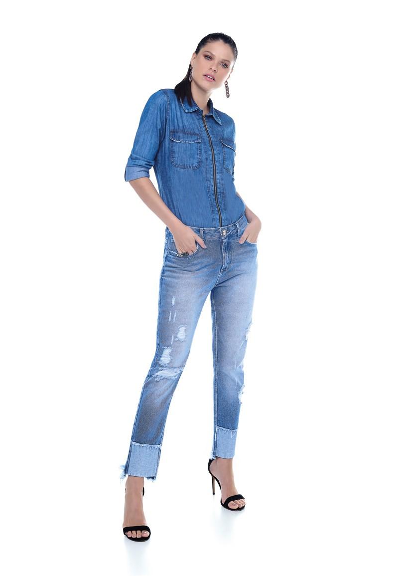 Camisa Jeans Com Ziper Frontal