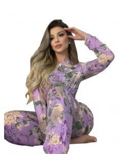 Conjunto Blusa e Calça Estampada Pijama de Inverno