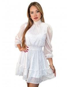 Vestido Curto Manga Longa Gola Alta Branco