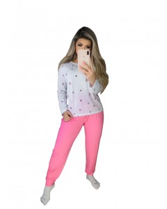 Conjunto Pijama Blusa Manga Longa Estampada e Calça Lisa
