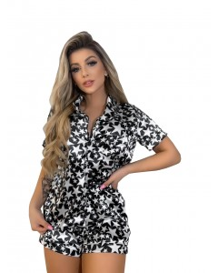 Pijama de Cetim Conjunto Camisa Curta e Short Preto Estrela Branca