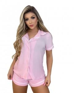 Pijama Canelado Conjunto Camisa Manga Curta e Short