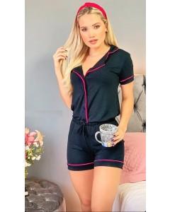 Pijama Preto Viés Rosa