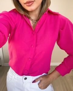 Camisa Feminina Manga Longa Bufante Pink