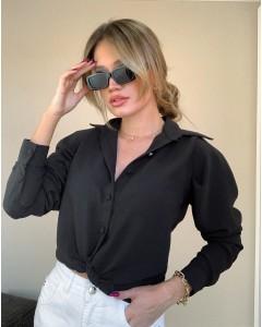 Camisa Feminina Manga Longa Bufante Preta