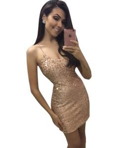 Vestido Com Paetê Dourado