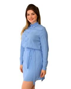 Vestido Azul Manga Longa